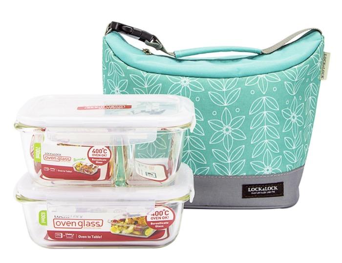 Combo túi đựng hộp cơm giữ nhiệt + hộp cơm thủy tinh Lock&Lock 3EA Xanh Mint