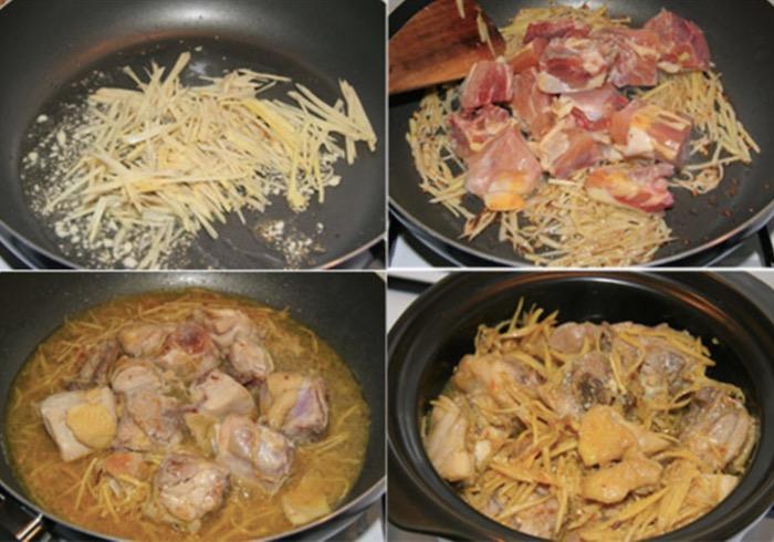 Rang gà tới khi thịt săn lại và lớp da vàng mọc