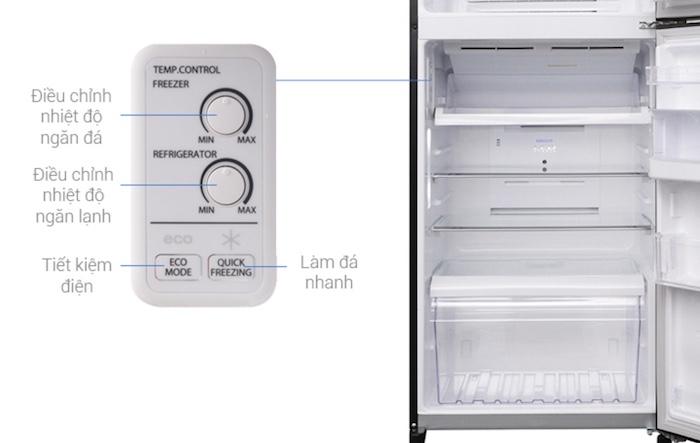 Các nút điều chỉnh nhiệt độ tủ lạnh toshiba được sắp xếp một cách thứ tự và cực kỳ chi tiết.