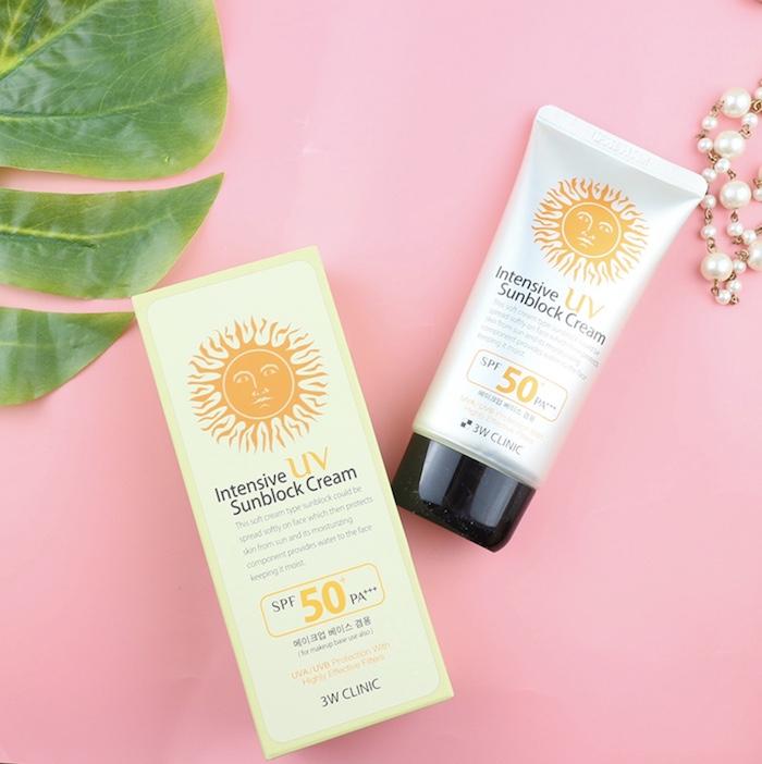 Kem chống nắng cho da mụn 3w clinic intensive uv sunblock creamspf 50++