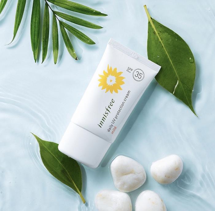 kem chống nắng cho da mụn innisfree daily uv protection cream mild spf35