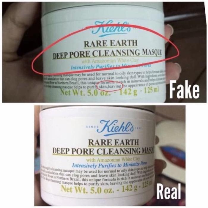 Một vài điểm cơ bản giúp phân biệt mặt nạ đất sét Kiehl's Rare Earth Deep Pore Cleansing Masque real và fake