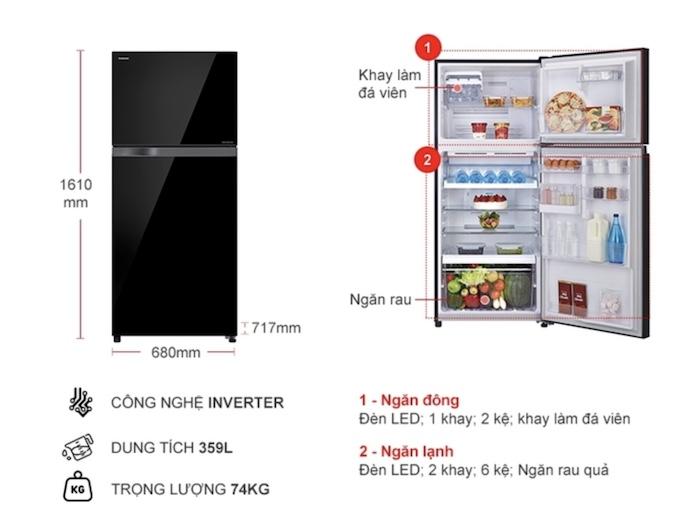 Thông tin chi tiết tủ lạnh Toshiba Inverter 359 lít GR-AG41VPDZ(XK1)