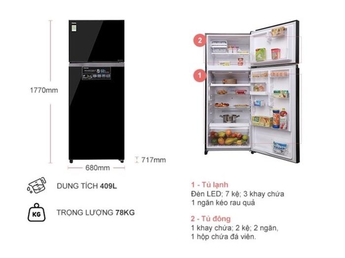 Thông tin chi tiết về Tủ lạnh Toshiba 409 LÍT GR-AG46VPDZ(XK1)