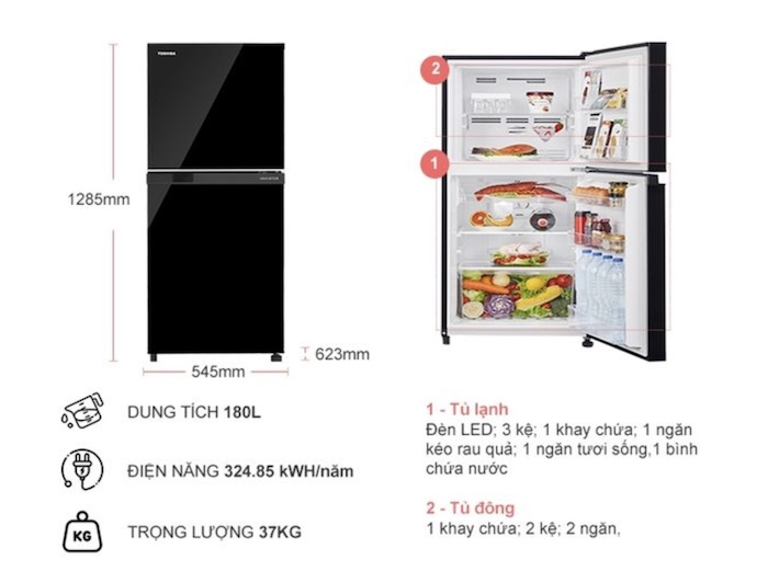Thông tin chi tiết về Tủ Lạnh TOSHIBA Inverter 180 Lít GR-B22VU(UKG)