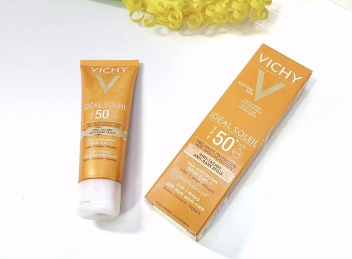 Vichy Ideal Soleil 3-in-1 Tineted Anti-Dark Spots Care SPF 50+ | Kem chống nắng có màu, ngăn sạm da, thâm nám hiệu quả